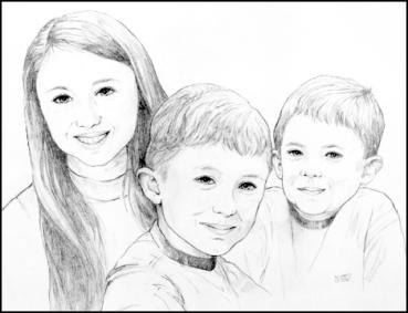 Three children-pencil-web
